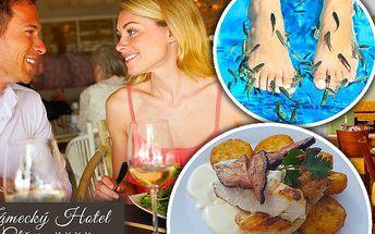 Oběd nebo večeře pro dvě osoby a 20 min. relax terapií Garra Rufa v zámecké restauraci Ctěnice****!