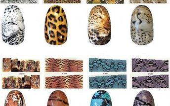 Nálepky na nehty s tygřím a hadím potiskem