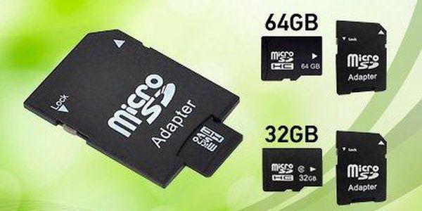 Micro SD paměťové karty s adaptérem až do kapacity 128 GB
