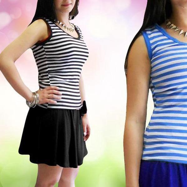 Letní šaty bez rukávů s pruhy v 7 barvách