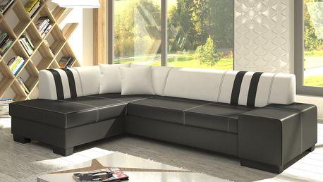 Smartshop Rohová sedačka EDMONTON, levá, ekosoft bílý/černý - DOPRODEJ