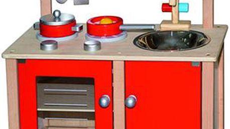 Dřevěná kuchyňka s výbavou - červená