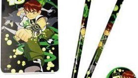 BEN 10 psací sada 2x tužka, 1x ořezávátko, 1x guma a 1x notýsek