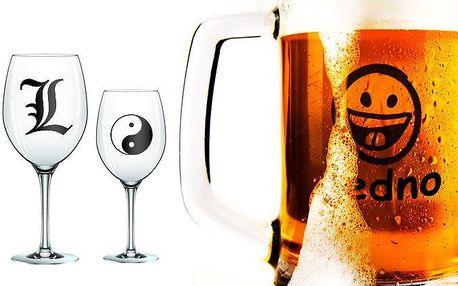Sklenice na pivo nebo víno s vlastním motivem