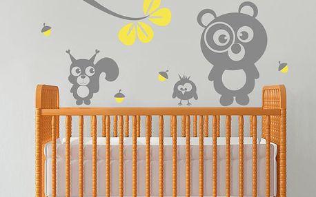 Samolepka na stěnu Medvídek, veverka a sova, žlutá, 70x50 cm