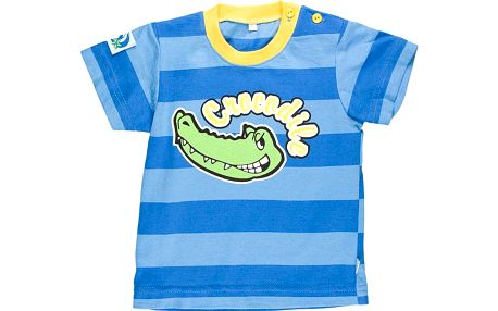 Chlapecké pruhované tričko s krokodýlem - modré