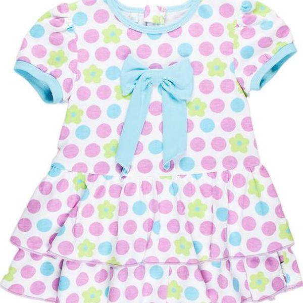Dívčí puntíkované šaty - fialovo-bílé