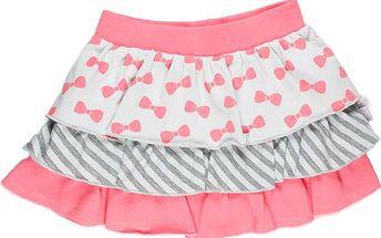 Dívčí sukně s volánky - růžovo-šedá