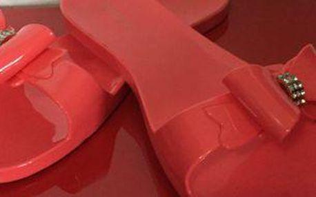 Dámské letní pantofle s mašličkou a prstýnkem v růžové barvě!