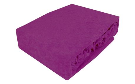 NOVIA Prostěradlo Exklusive, 90x200cm, froté, Barva Tmavá purpurová