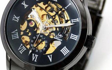 Samonatahovací pánské hodinky Gunmetal