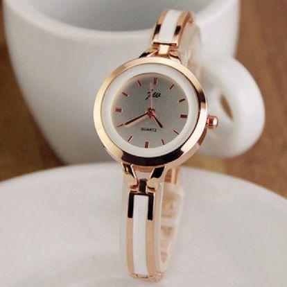 Elegantní hodinky s bílým proužkem