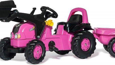Rolly Toys Šlapací traktor Rolly Kid růžový s nakladačem a vlečkou