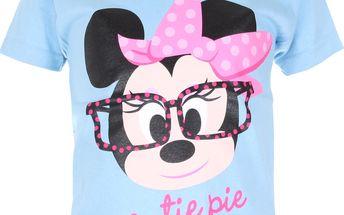 Dívčí tričko Minnie s brýlemi - světle modré