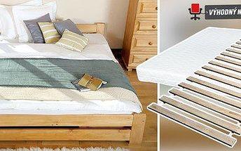 Masivní postele z přírodní borovice + rošt zdarma