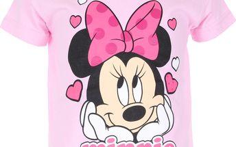 Dívčí tričko Minnie s mašlí - světle růžové