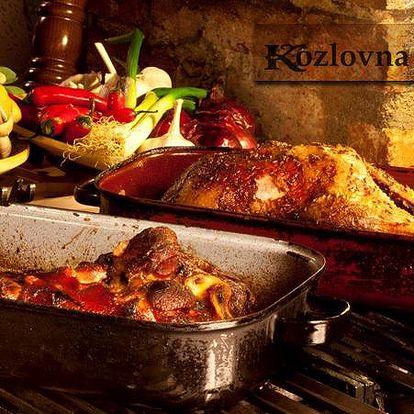 Veškerá jídla ve vyhlášené restauraci KOZLOVNA APROPOS nyní s báječnou 50% slevou!