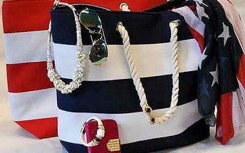 Prostorná plážová taška v nesmrtelném námořnickém stylu