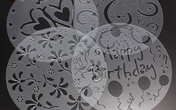 Dekorační šablony na dort - 4 ks v balení