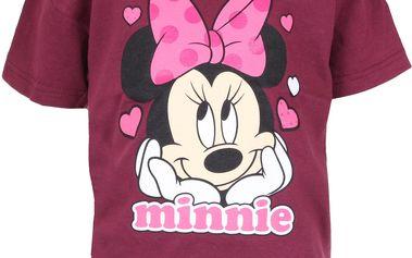 Dívčí tričko Minnie s mašlí - bordó