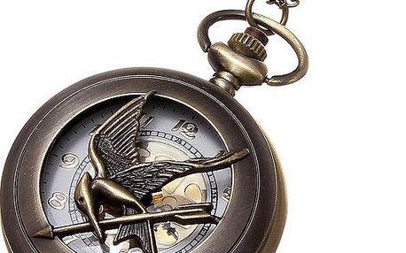 Vintage hodinky na řetízku - bronzová barva