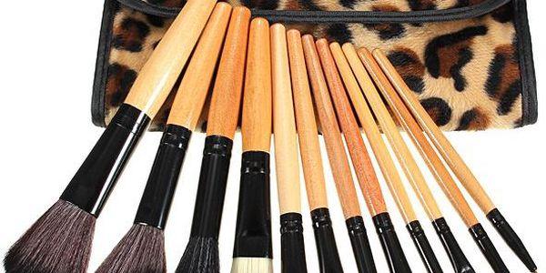 12 kosmetických štětců v pouzdře s leopardím potiskem