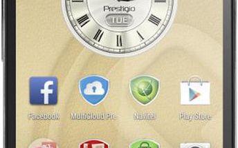 Tenký telefon s 5 palcovým dotykovým displejem Prestigio MultiPhone PSP5508 DUO, metalická