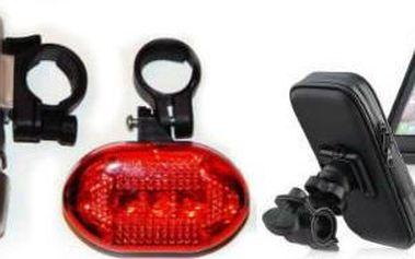 Cyklo set: přední a zadní světlo na kolo s voděodolným pouzdrem na mobil.