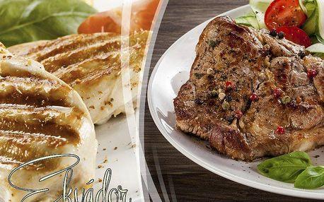 640g šťavnatého masa, 3 libovolné přílohy a teplá pepřová omáčka v restauraci Ekvádor v Brně.