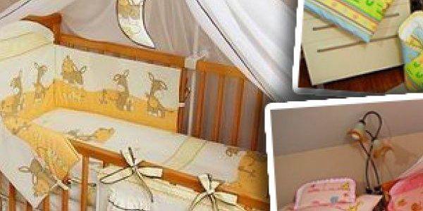 3 typy dětských postýlek s matrací včetně 12ti dílné sady do postýlky - až 13 vzorů a různých barev.