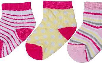 Dívčí sada ponožek (0-6 měsíců) - 3 páry - růžové, žluté a bílé