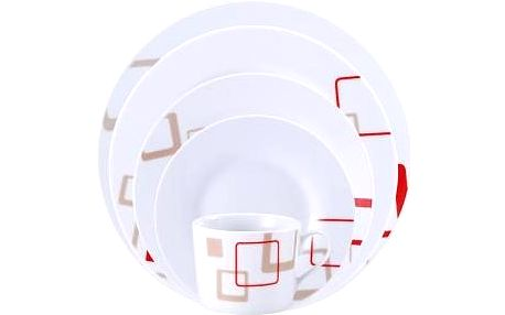 Jídelní sada talířů 30 ks OSLO, bílá / červeno-béžový dekor RENBERG RB-80108
