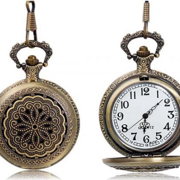 Kapesní retro hodinky s ornamentem - bronzová barva