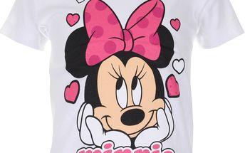 Dívčí tričko Minnie s mašlí - bílé