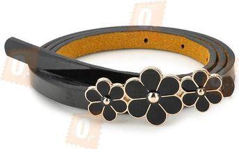 Dámský pásek se sponou ve tvaru květin - černý