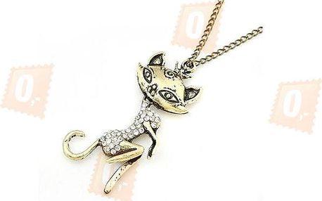 Vintage náhrdelník s přívěskem ve tvaru kočky
