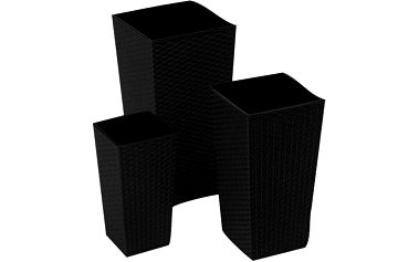 Květináč ratanový 25x25x47cm plastový, černý