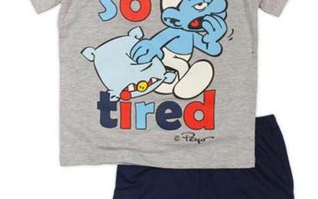 Chlapecké pyžamo Šmoulové - šedo-modré