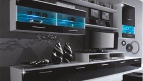 TEMPO KONDELA Leo obývací stěna s LED osvětlením, bílá/černá extra vysoký lesk HG