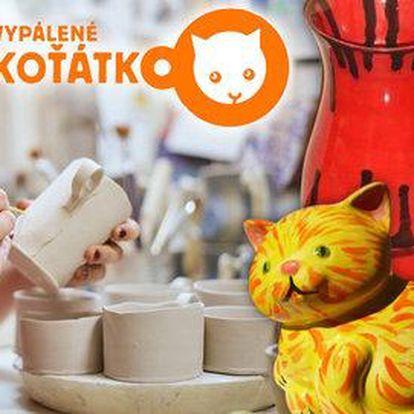 Malování a pálení keramiky v tvůrčí dílně Vypálené koťátko