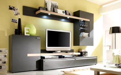 Piano - Obývací stěna (černohnědá / dub sonoma / sklo)