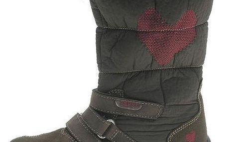 Hnědé teplé zimní boty se srdíčkem