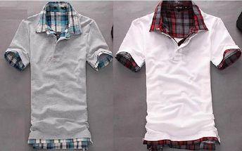 Pánské polo tričko s kostkovaným límečkem a rukávy - 2 barvy