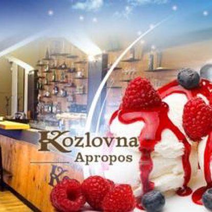 Kozlovna Apropos u Karlova mostu! Tři kopečky vanilkové ZMRZLINY přelité horkými MALINAMI a ESPRESSO!