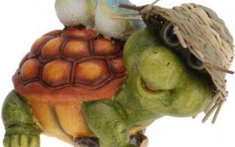 Zahradní dekorace želva se dvěma ptáčky na zádech ProGarden