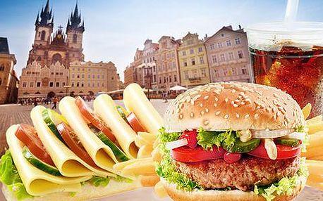 2x burger nebo sendvič na Staroměstským náměstí s nápojem