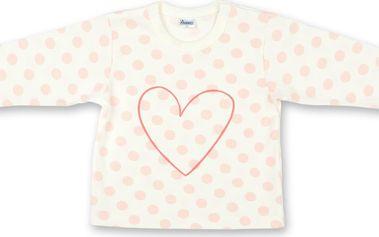 Dívčí puntíkované tričko se srdíčkem - růžovo-bílé