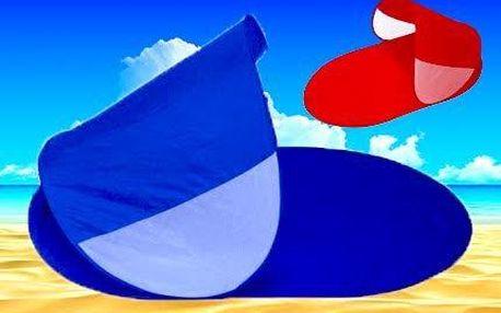 Pop-up plážový přístřešek rozložitelný v několika vteřinách