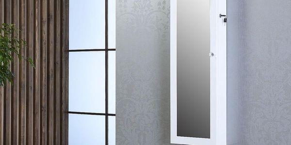 Uzamykatelné závěsné zrcadlo se šperkovnicí Emily, bílé - doprava zdarma!