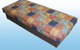 Čalouněná válenda s pružinovou matrací a úložným prostorem
